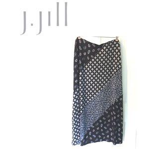 J. Jill Boho Maxi Skirt Stretch Paisley Floral Lg